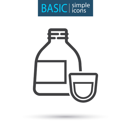 medical cough syrup simple line icon Vector illustration.