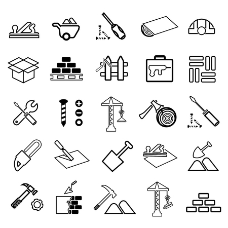 Construction line icon set Vector illustration.