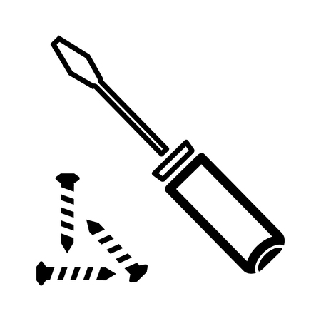 Construction screwdriver line icon Vector illustration.