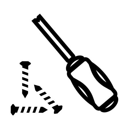 Construction screwdriver line icon Illustration