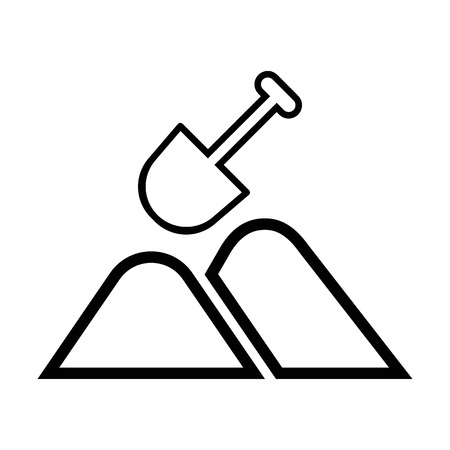 Construction shovel line icon