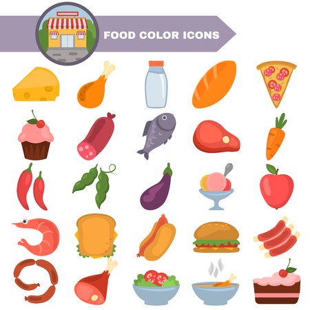 Food color flat design icons set illustration on white background.