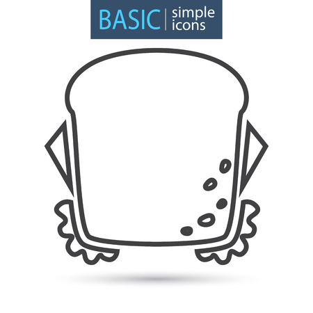 Sandwich with cheese line icon Illustration