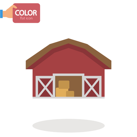 Agriculture warehouse simple basic flat icon