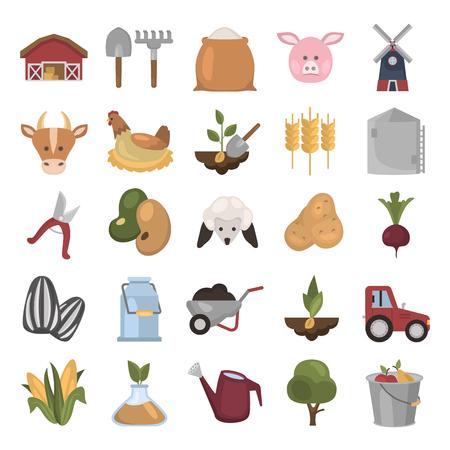 Farm flat color icon set