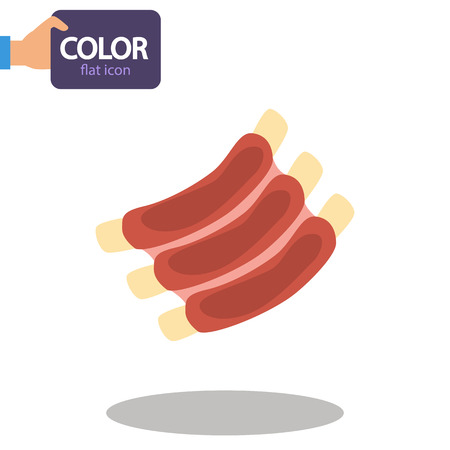Meat ribs color flat icon