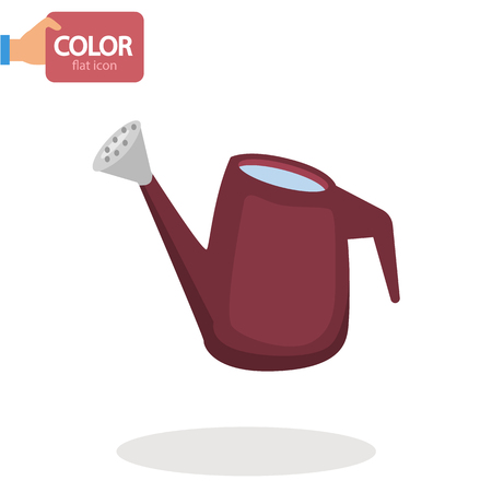 Garden watering can color flat icon Stock Illustratie