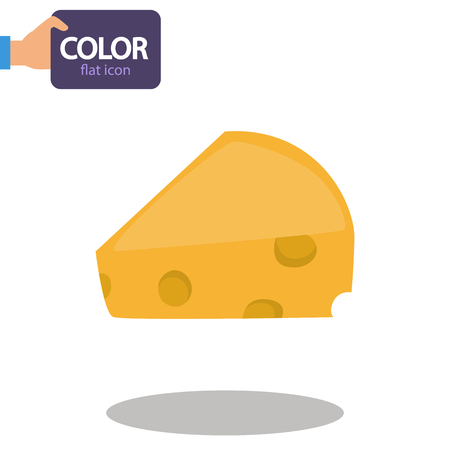 A piece of cheese color flat icon Illustration