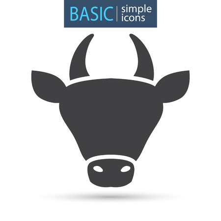 The head of a cow simple basic icon Stock Illustratie