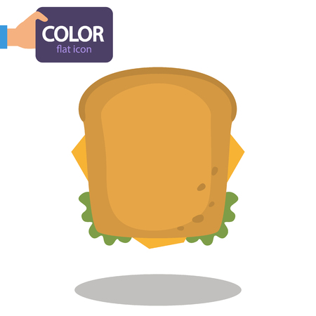 Sandwich with cheese color flat icon