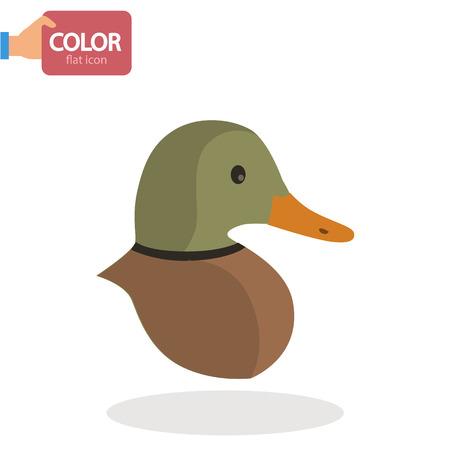 Duck head flat color icon Vectores