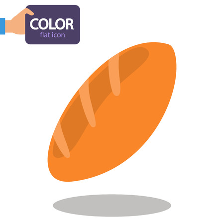 A loaf of bread color flat icon Stock Illustratie