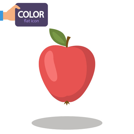 Apple fruit color flat icon Illusztráció