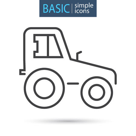 Agriculture tractor line basic icon Stock Illustratie