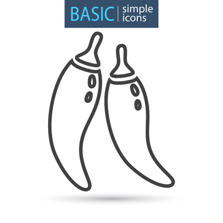 Two pepper pods line icon