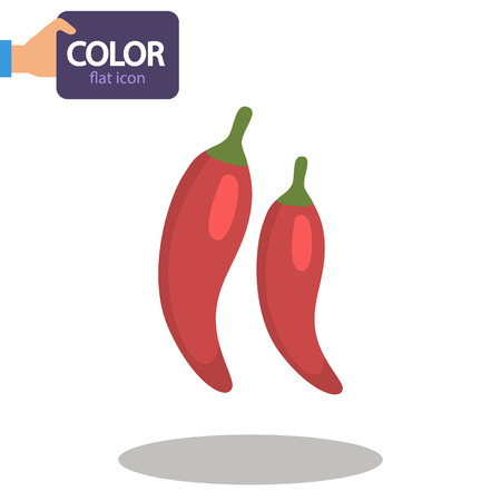 Two pepper pods color flat icon Illustration