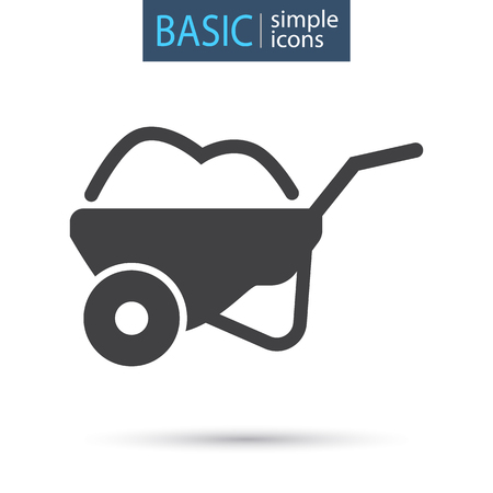 Garden wheelbarrow simple basic icon