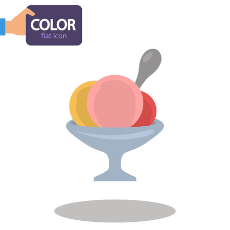 Mugs of ice cream color flat icon
