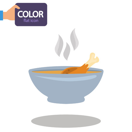 A plate of hot soup color flat icon Illustration