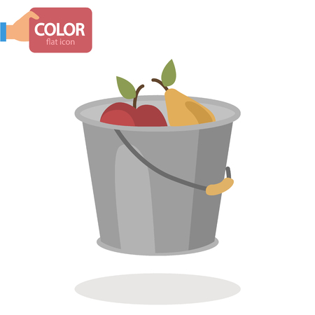 Bucket with fruit harvest flat color icon