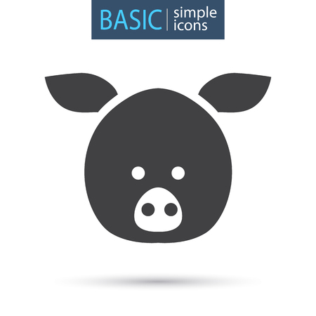 The head of a pig simple basic icon Illustration