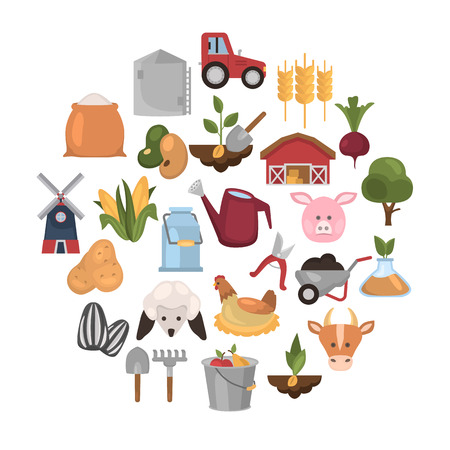 Farm flat color icon set