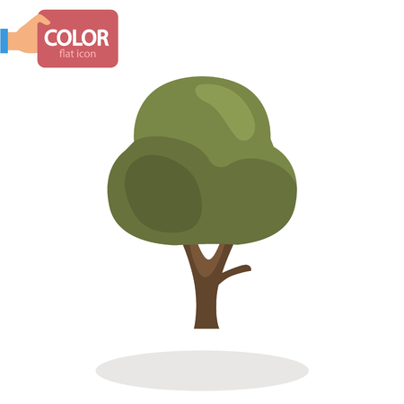 Garden tree flat color icon Illustration