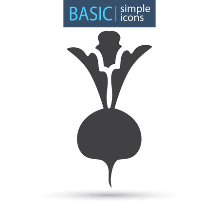 Beet vegetable simple basic icon Illustration