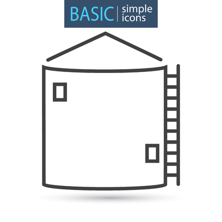 Silo tower line basic icon