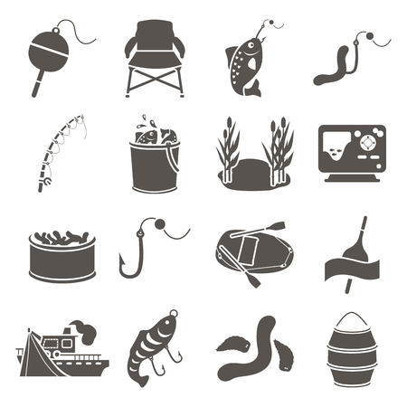 Fishing simple vector icons set. Flat design