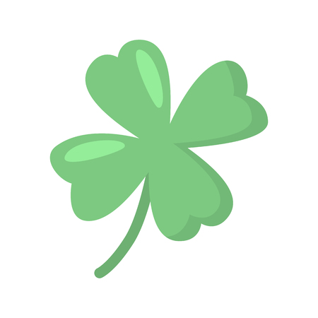 Lucky clover leaf color vector icon. Flat design Illustration