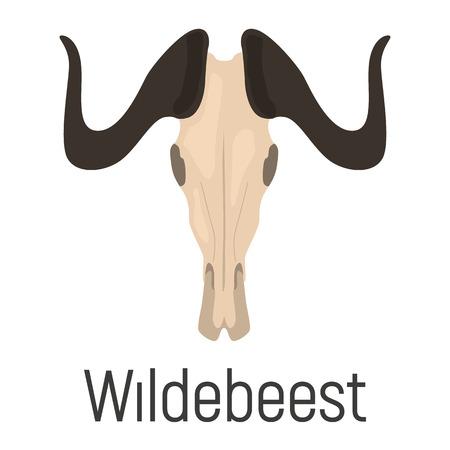 Wildebeest skull color vector icon. Flat design