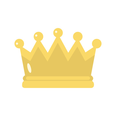 Gold crown color vector icon. Flat design