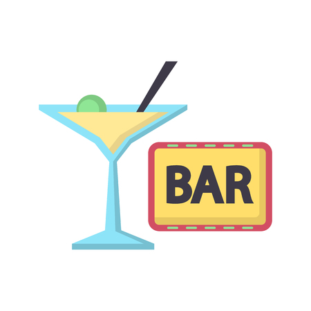 Casino bar color vector icon. Flat design