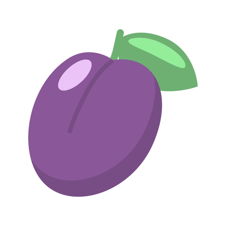 Plum, the winning combination in the slot machine color vector icon. Flat design