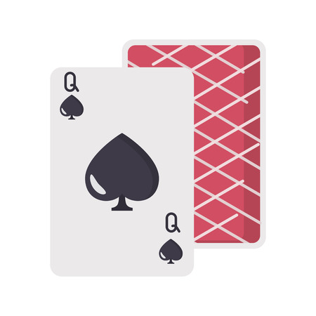 Queen of Spades card color vector icon. Flat design Ilustrace