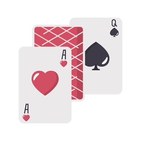Ace hearts and quin spades playing cards color vector icon. Flat design Stock Illustratie