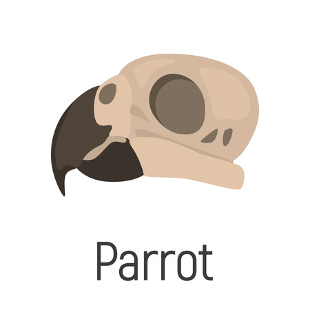 Parrot skull color vector icon. Flat design Ilustrace