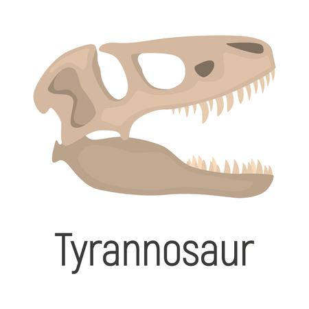 Tyrannoxaurus skull color vector icon. Flat design Illustration