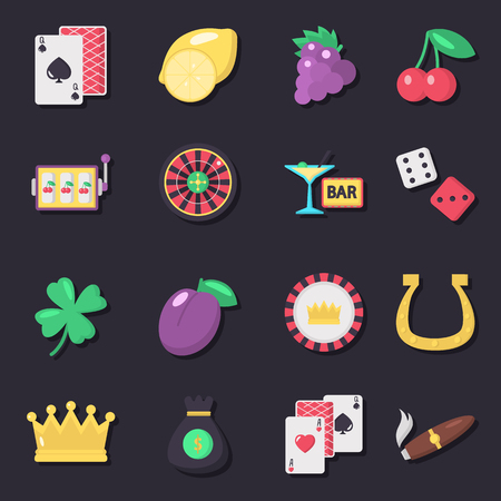 Casino color vector icons set. Flat design Ilustrace