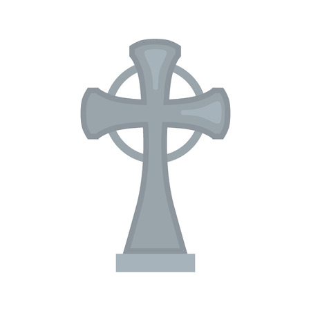 Grave cross color vector icon. Flat design