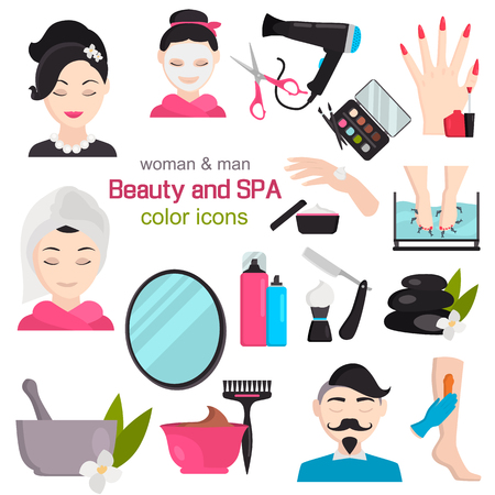 Spa and beauty salon color vector icons set. Flat design Stockfoto - 124955019