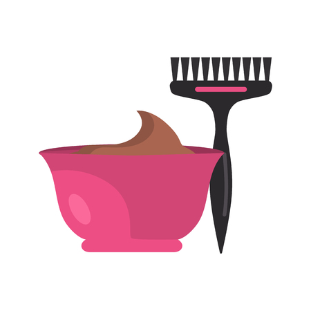 Hair dye and brush color vector icon. Flat design