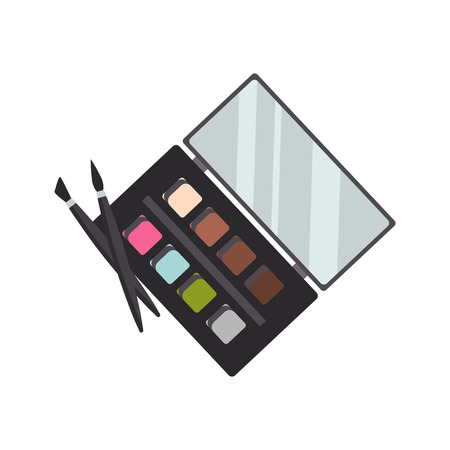 Eyeshadow palette and brushes color vector icon. Flat design