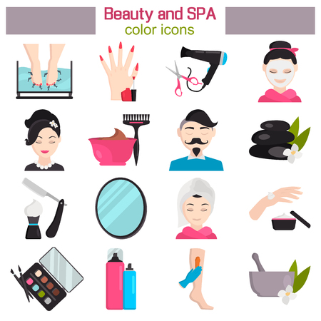 Spa and beauty salon color vector icons set. Flat design