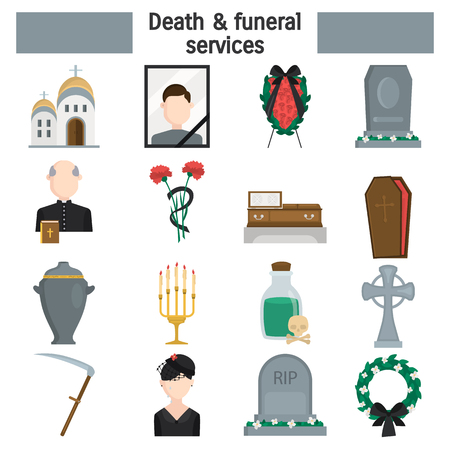 Death and funeral services color vector icons set. Flat design