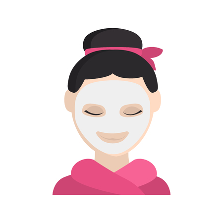 Girl with facial mask color vector icon. Flat design Ilustrace