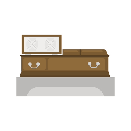 Open coffin color vector icon. Flat design