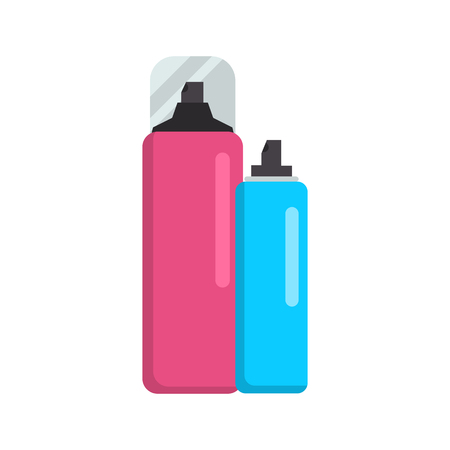 Bottles with hair products color vector icon. Flat design Banco de Imagens - 124959986