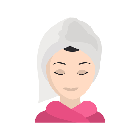 Girl with washed hair in a towel color vector icon. Flat design